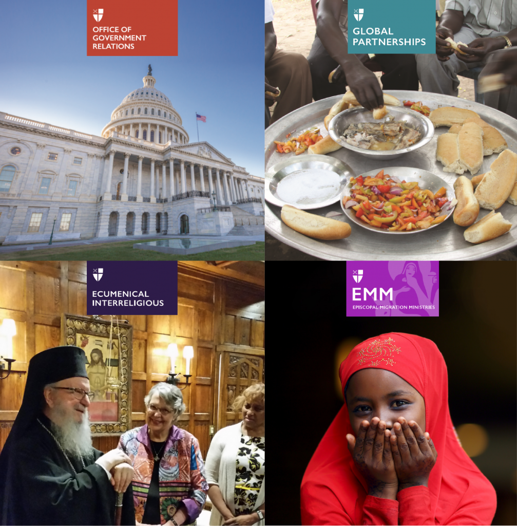 Four pictures in one square, upper left is Office of Government relations picture of Capitol building, upper right is Global partnerships picture of large silver plate of food, lower left is ecumenical interreligious pciture of three people smiling, lower right is episcopal migration ministries picture with girl in red hijab iwth her hands covering her mouth