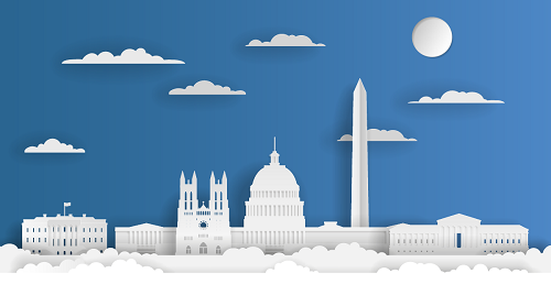 View of the White House, capitol building, Washington monument, and supreme court building sitting in the clouds and made out of paper.